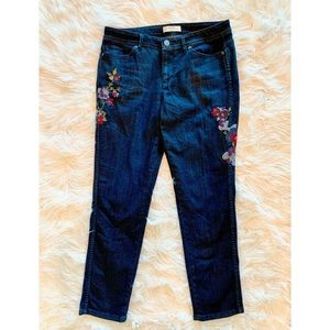 J JILL Floral Embroidered Slim Ankle Jeans